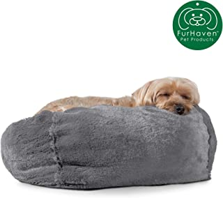 Furhaven Pet Dog Bed | Round Plush Faux Fur Refillable Ball Nest Cushion Pet Bed w/ Removable Cover for Dogs & Cats, Gray Mist, Small