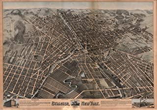 Historic Map Map: 1874 Birds eye view of Syracuse, New York : 1874|New York|Syracuse|Syracuse NY|