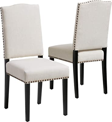 Christopher Knight Home Brunello Fabric Dining Chairs, 2-Pcs Set, Off-White
