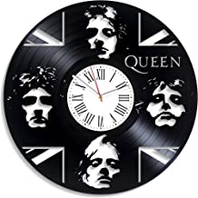 Kovides Queen Music Vintage Vinyl Record Clock Queen Rock Music Band Home Decor We Will Rock You Queen Wall Clock Minimalist Decor for Living Room Birthday Gift for Fan