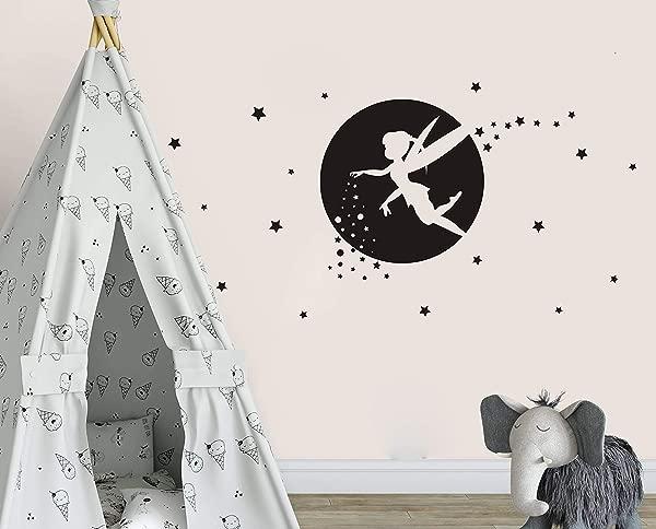 Fairy Wall Decals Girl Room Decor Nursery Wall Decals Fairy Wall Stickers For Bedroom Wall Decor Bedroom Moon And Star Wall Decor Y34 Black