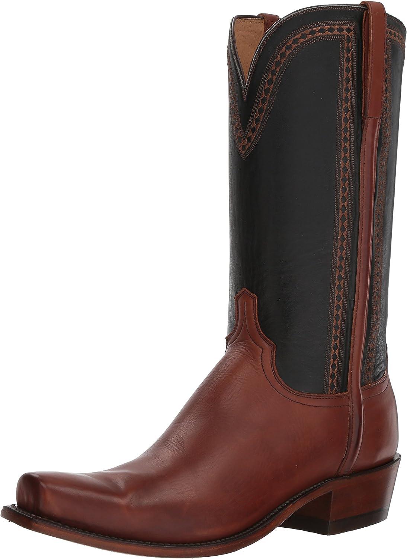 Lucchese Bootmaker Men's Sutton Western Boot, Tan Black, 10.5 D US