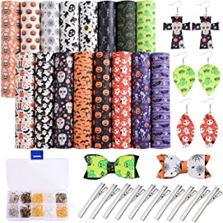 Dorhui 16 Pieces Halloween Faux Leather Sheets,Faux Leather Making Kit with Earring Hooks, Hair Clips for Making Crafting DIY Sewing Festival Decor Halloween Hair Bows and Earrings (6.3X 8.3 inchI)