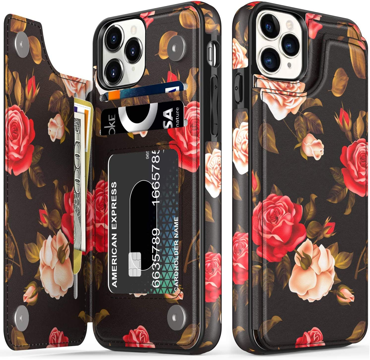 LETO iPhone 12 Pro Max Case,Flip Folio Leather Wallet Case Cover with Fashion Blooming Florals Designs for Girls Women,with Card Slots Kickstand Phone Case for iPhone 12 Pro Max 6.7