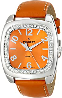 Peugeot Women's Silver-Tone Swarovski Crystal Accented Leather Strap Watch