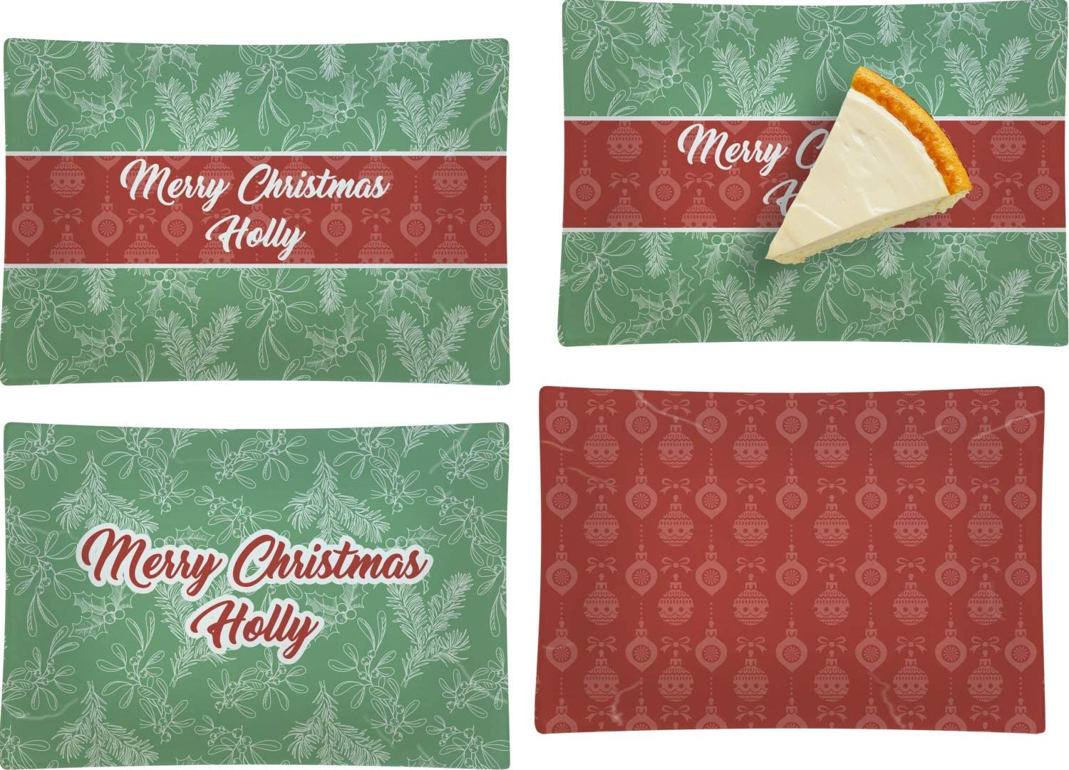 Christmas Holly Set of 4 Pla Glass Beauty sale products Dessert Appetizer Rectangular