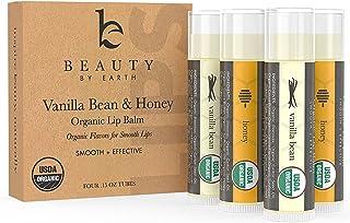 Organic Lip Balm Honey Vanilla - 4 Tubes of Natural Lip Balm, Lip Moisturizer, Lip Treatment for Dry Lips, Lip Care Gifts ...