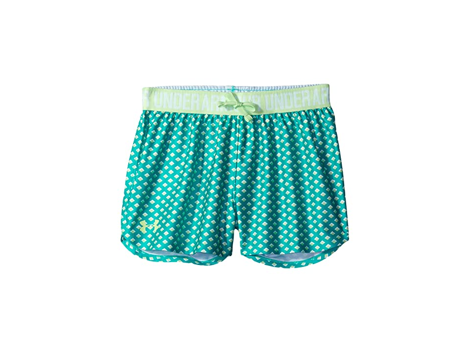 Under Armour Kids Printed Play Up Shorts (Big Kids) (Absinthe Green/Summer Lime) Girl's Shorts, Blue