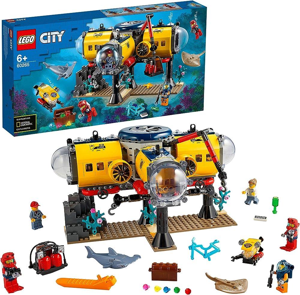 Lego city oceans base per esplorazioni oceaniche con sottomarino, drone, uno squalo e una manta 60265