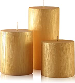 Blend-Divine Set of 3 Gold Pillar Candles Decoration Wedding Party Candles   Perfect Use for Home Décor, Church-Spa, Resta...
