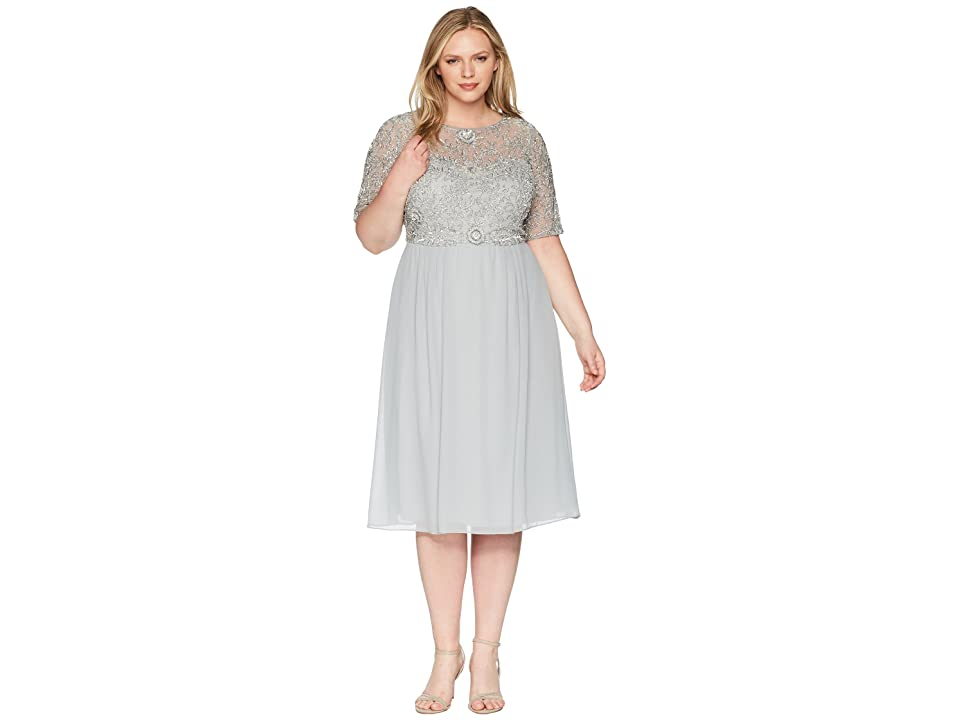 Adrianna Papell Plus Size Beaded Dress (Blue Mist) Women