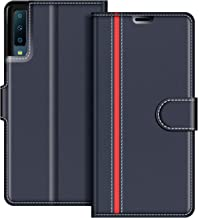 COODIO Funda Samsung Galaxy A7 2018 con Tapa, Funda Movil Samsung A7 2018, Funda Libro Galaxy A7 2018 Carcasa Magnético Funda para Samsung Galaxy A7 2018, Azul Oscuro/Rojo