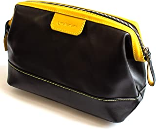 Leather Toiletry Bag Dopp Kit for Travelling - Hygiene Bag Shaving Kit Bag - Leather Dopp Kit - Cosmetic Travel Bag - TB1 Mellamoon (Black and Yellow)