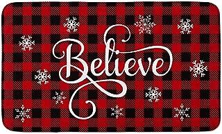 AVOIN Christmas Buffalo Plaid Believe Decorative Doormat, 18 x 30 Inch Winter Holiday Non-Skid Floor Mat Switch Mat Indoor Outdoor Home Garden