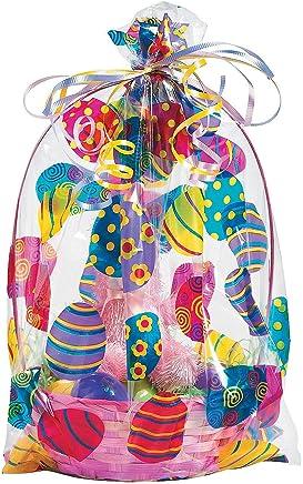 "Easter Basket Bags (12 Pack) 17 3/4"". Cellophane."
