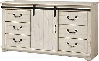 Martin Svensson Home Coastal Farmhouse Solid Wood 9 Drawer Dresser With Sliding Barn Door, Antique White