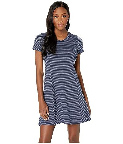 Toad&Co Windmere Short Sleeve Dress (Deep Navy Mini Stripe) Women