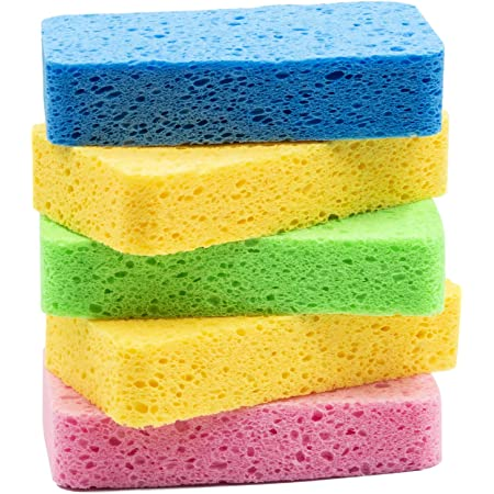 Sponge For Car Large Cellulose Multi-use Scrub Car Wash Sponges Car Sponges Pack Of 3 Kitchen And Cleaning Yellow Environmentally Safe Biodegradable by Greenet
