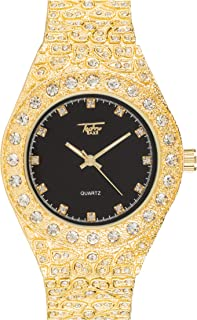 Men's Iced Out Gold Watch with Simulated Diamonds and Nugget Style Hip Hop Band - Black Dial