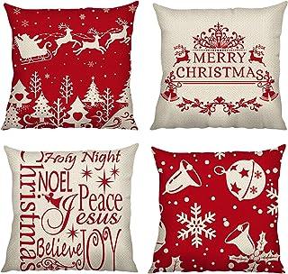 Bonhause Juego de 4 Funda de Cojín 45x45cm Navideñas Rojo Árbol de Navidad Reno Copo de Nieve Algodón Lino Funda de Almohada para Cojín Decorativos para Sofá Decoración del Hogar de Navidad