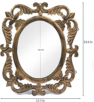 The Urban Store Wood Hand Crafted Antique Gold Finish En Oval Shape Vanity Wall Mirror for Living Room, 24X20 Inches (Multicolor)