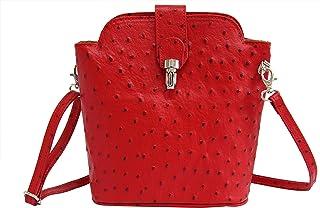 AmbraModa SL 704 - Borsa a tracolla donna piccola, borsa a spalla, piccola borsa italiana realizzata in vera pella. (rosso)