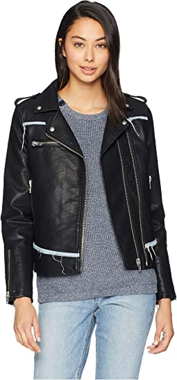 Vegan Leather Moto Jacket with Denim Detail in Thrasher