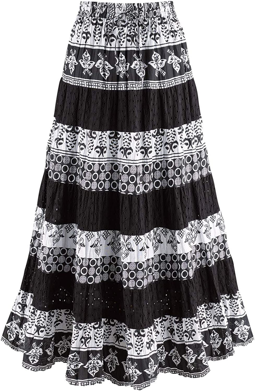 CATALOG CLASSICS Women's Tiered Eyelet Maxi Skirt - Black and White Mixed Patterns