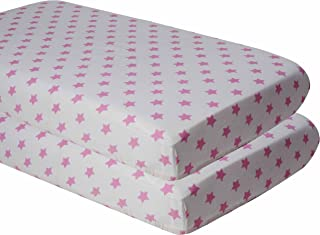 Bacati 2 Piece Stars Ikat Muslin Crib Sheets, Pink