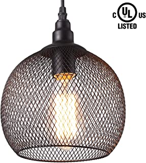HOMIFORCE Vintage Style 1 Light Chicken Wire Dome Pendant Light with Black Net Metal Shade in Modern Industrial Edison Style Hanging CL2017041(Zeus Black)