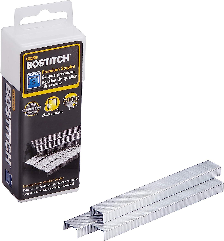 Bostitch Premium Staples for Jam-Free Stapling 0.25 Inch 5,000 Staples//Box 2 Pack Full Strip