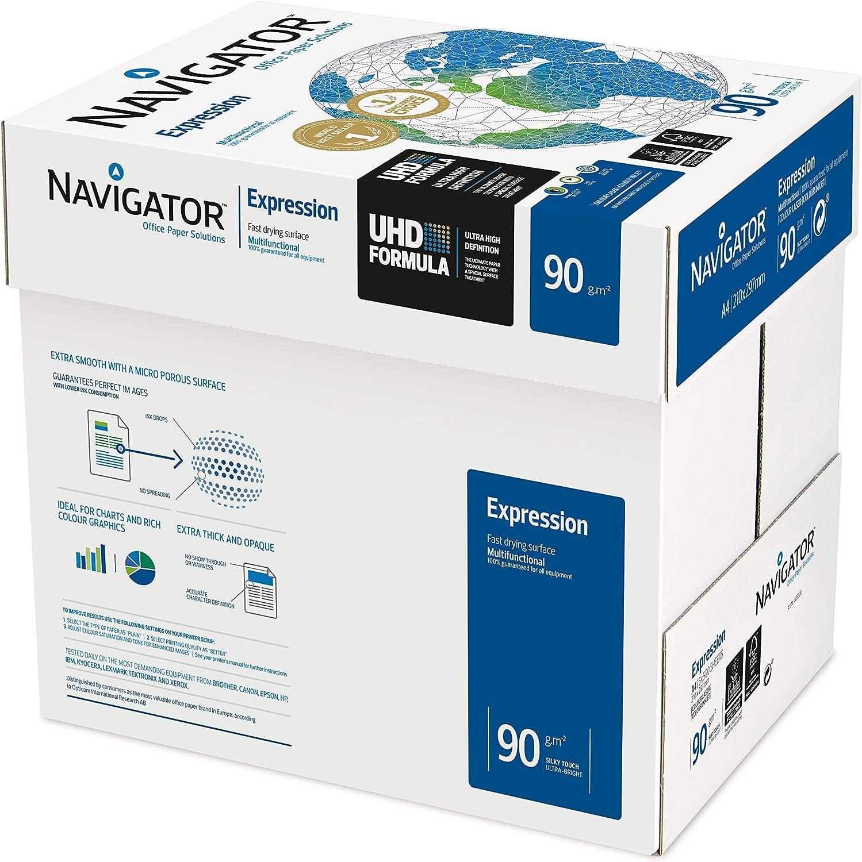 Navigator Expression - Paquete de 2500 folios de papel para impresora/fotocopiadora 90g/m² A4, Blanco