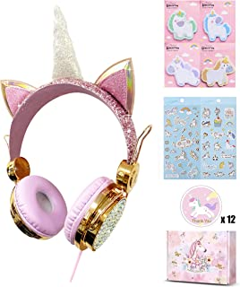 Unicorn Kids Headphones for Girls Children Teens, Wired Headphones for Kids with Adjustable Headband, 3.5mm Jack and Tangle-Free Cord, Over On Ear Headset w/Mic for School Xmas Unicorn (Gold)