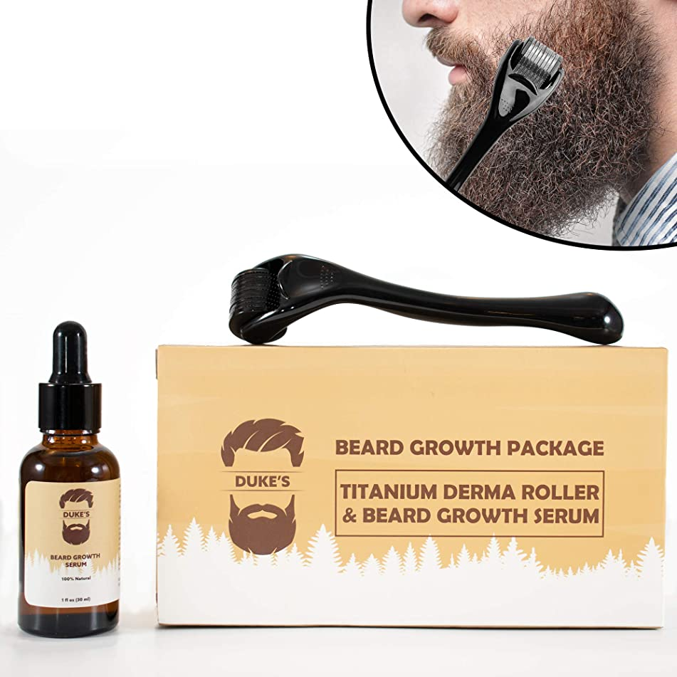 Derma Roller for Beard Growth + Beard Growth Serum - Stimulate Beard and Hair Growth - Best Derma Roller for Men - Amazing Beard Growth Kit