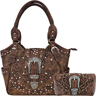 Western Style Tooled Leather Concealed Carry Purse Buckle Handbags Country Shoulder Bags Wallet Set Brown