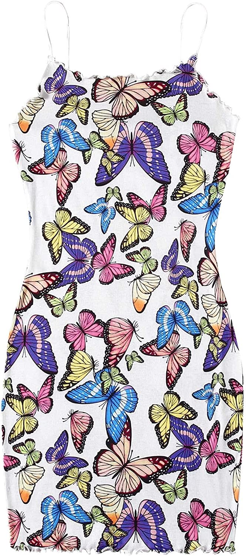 WDIRARA Women's Butterfly Print Spaghetti Strap Rib Knit Bodycon Cami Dress