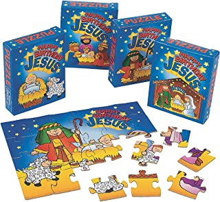 Fun Express - Happy Birthday Jesus Puzzles for Christmas - Toys - Games - Puzzles - Christmas - 12 Pieces