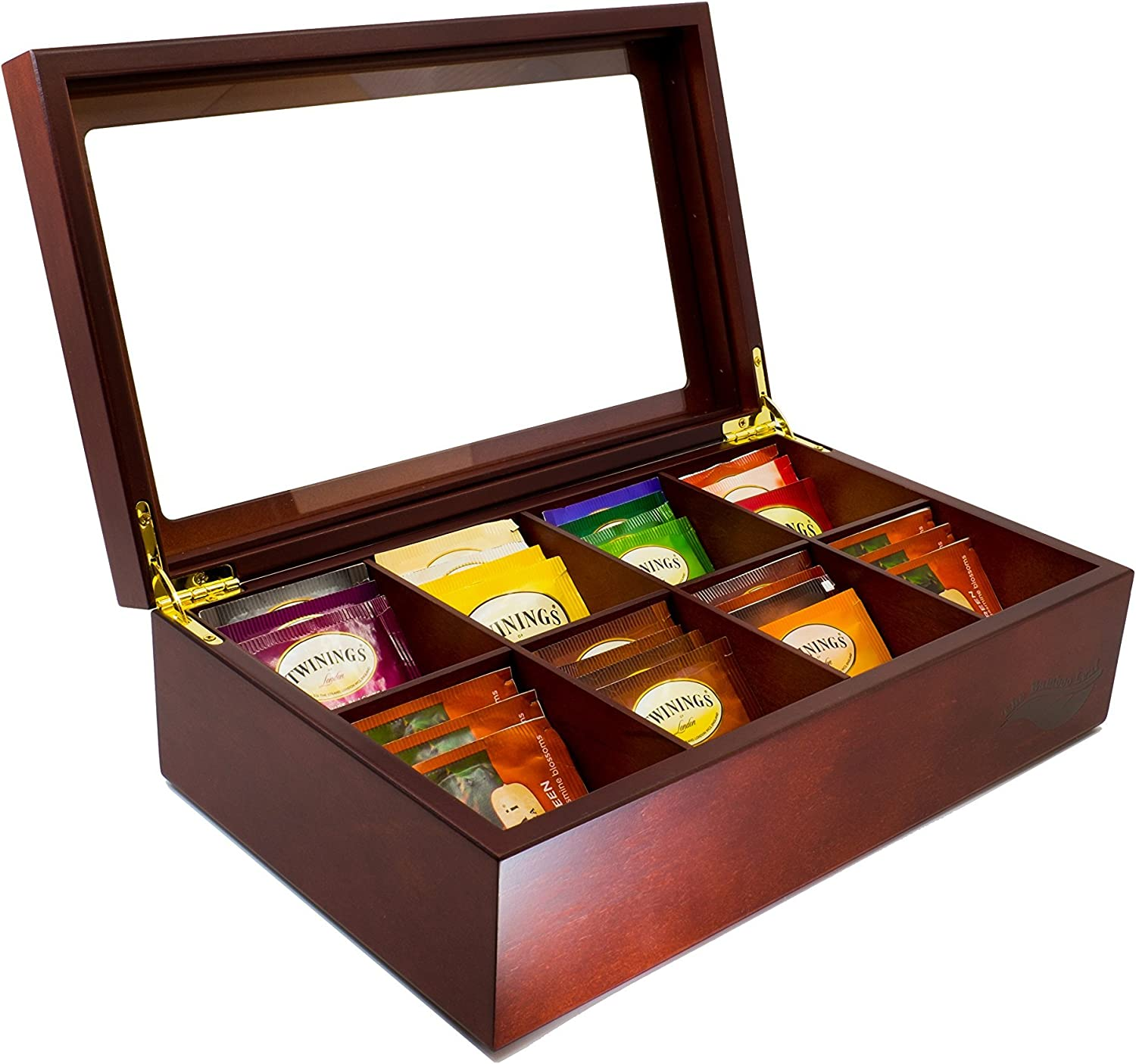 The Bamboo Leaf Wooden Tea Storage Chest Box With 8 Compartments And Glass Window Cherrywood Amazon Ca Home Kitchen