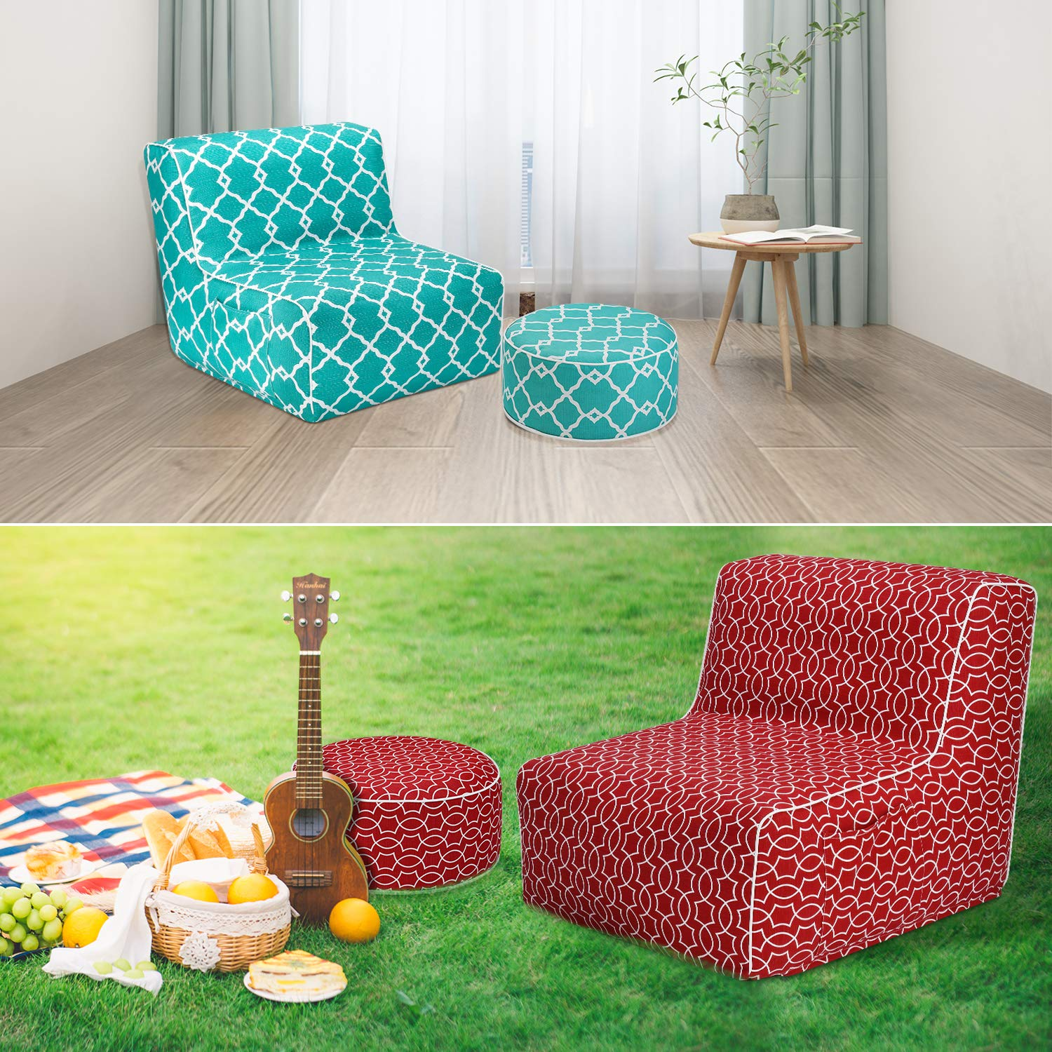 Flower Inflatable Ottoman footrest Stool with Portable air Pump and Storage Bag or Pouch Used for Outdoor or Indoor Travel Portable Camping Backyard Patio Garden Home Yoga footrest Stool