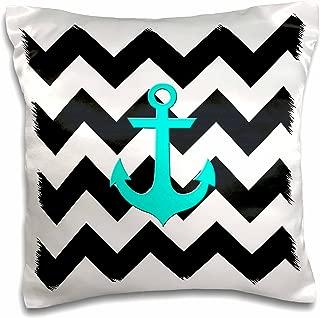 3dRose pc_201994_1 Aqua Blue Anchor with Black and White Chevron Pattern Pillow Case, 16
