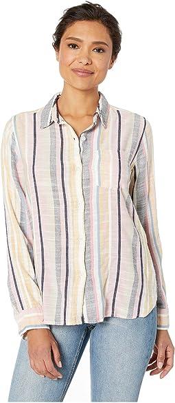 Summertime Stripes Long Sleeve One-Pocket Shirt