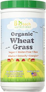 Biotech Nutritions Raw Organic Gluten Free Vegan Wheat Grass, 17 Ounce