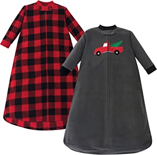 Hudson Baby Baby Long Sleeve Fleece Sleeping Bag, Christmas Tree Pack, 0-9 Months