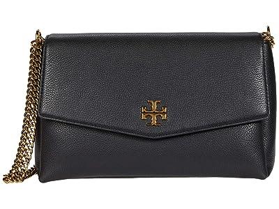 Tory Burch Kira Pebbled Convertible Shoulder Bag (Black) Handbags