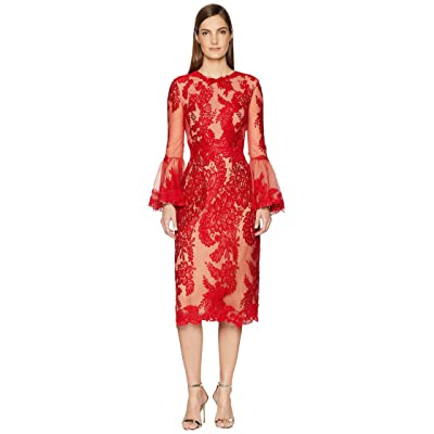 Marchesa A-Line Cocktail Scallop Lace Bell Sleeve Dress (Red) Women