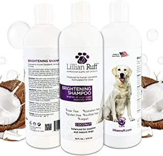 Lillian Ruff Brightening & Whitening Shampoo for Dogs – Safe for Cats - Tear Free Coconut Scent with Aloe for Normal, Dry & Sensitive Skin – Adds Shine & Luster to Coats