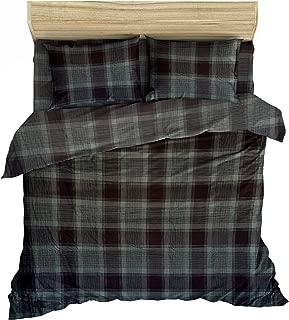 Friends at Home 100% Turkish Cotton Heavyweight Flannel Cotton Queen Duvet Cover Set (Black Plaid)