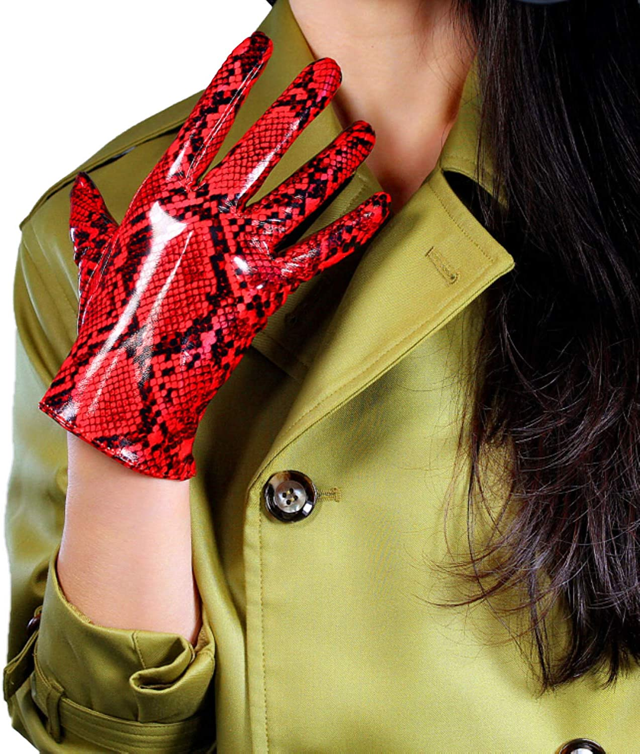 DooWay Latex Women Long Leather GLOVES PU Patent Snake Skin Print Opera Elbow Short Unrestrained Sexy Red