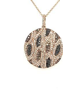 Lady's Rose 14 Karat Pendant with 1.39Tw Round Champagne & White Diamonds with 14 Karat Rose Gold Chain. List Price $2565.00!