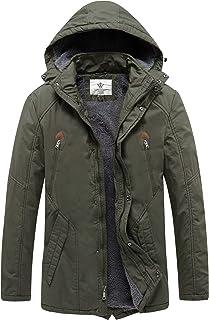 WenVen Men`s Winter Warm Sherpa Lined Parka Jacket with Detachable Hood